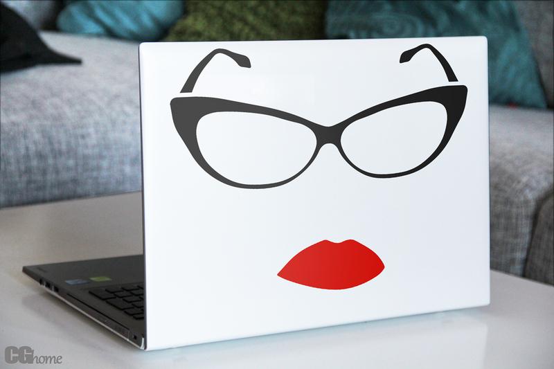 Laptop-Aufkleber mit Brillenmotiv